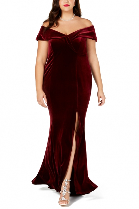 RED PLUS SIZE OFF-THE-SHOULDER VELVET GOWN