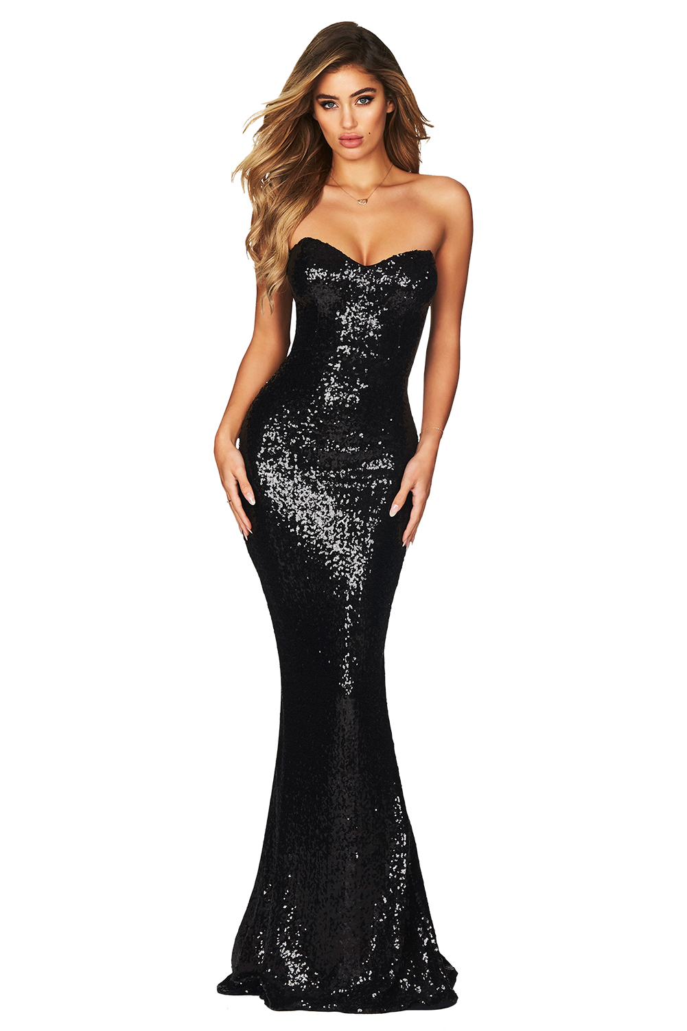 SPELLBOUND STRAPLESS GOWN BLACK
