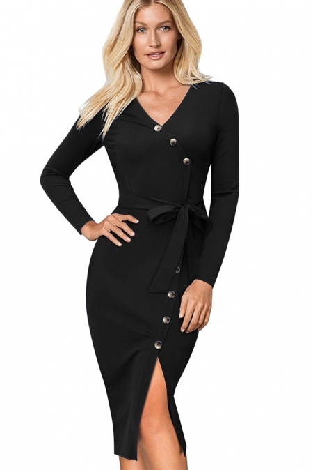 BLACK ELEGANT VINTAGE SPLIT BELTED BODYCON OFFICE DRESS
