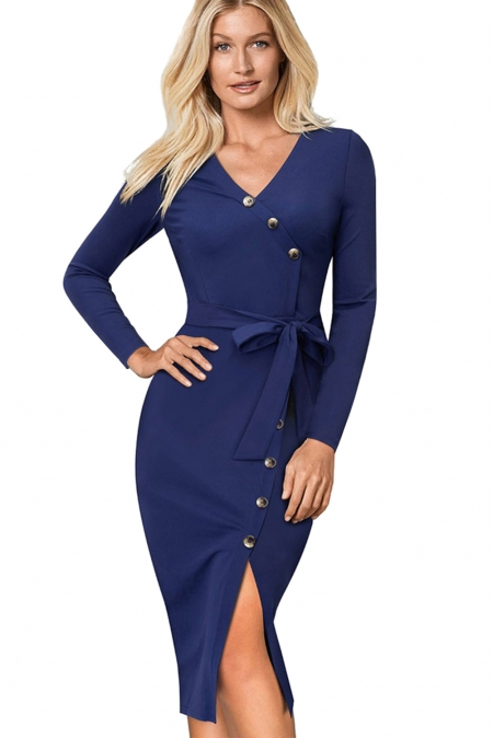 BLUE ELEGANT VINTAGE SPLIT BELTED BODYCON OFFICE DRESS