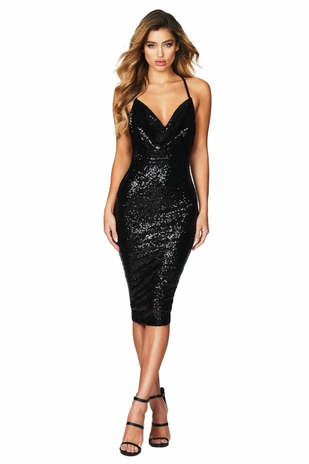 BLACK SEDUCTIVE SEQUIN MIDI CLUB DRESS