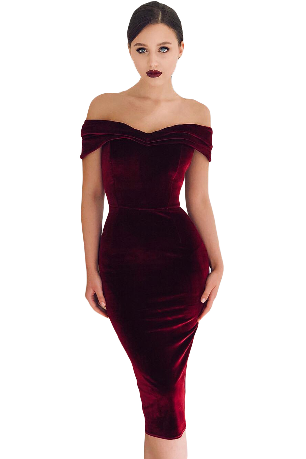 WINE RED OFF SHOULDER RUCHED VELVET PARTY DRESS
