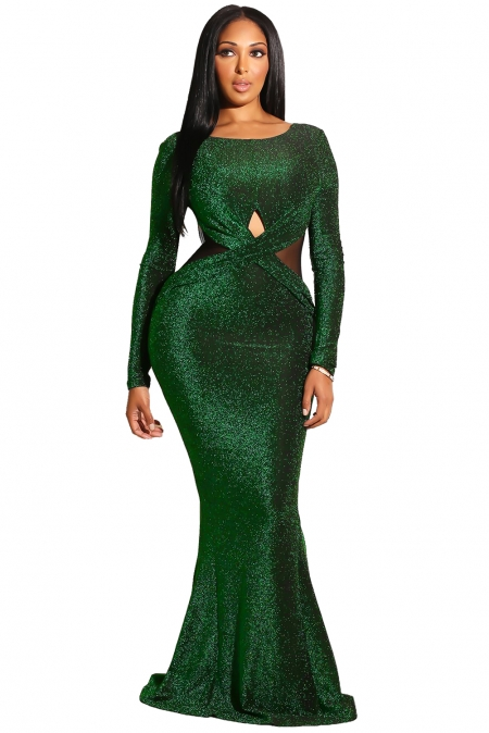EMERALD SEXY LONG SLEEVES MAXI BODYCON EVENING GOWN DRESS
