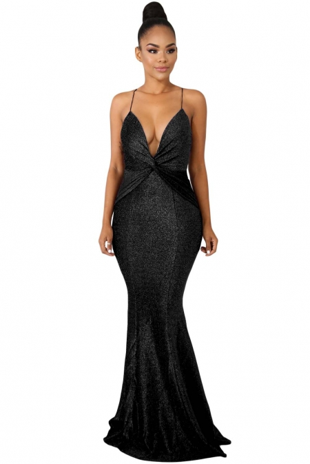BLACK SHINE TWIST MAXI DRESS