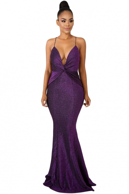 PURPLE SHINE TWIST MAXI DRESS