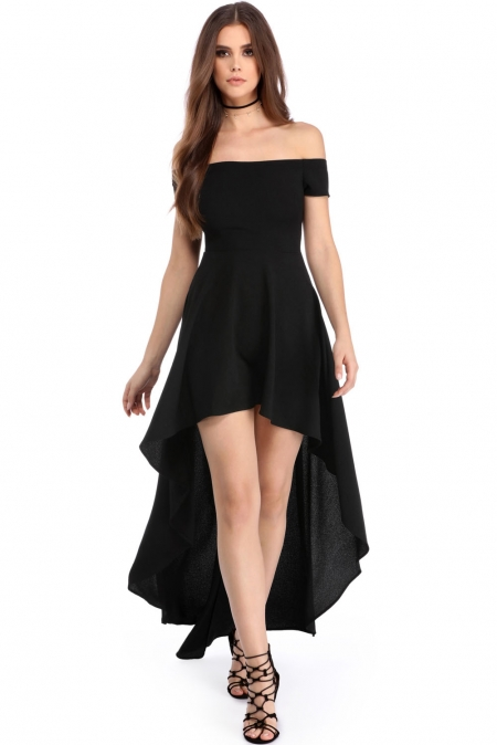 BLACK HIGH LOW HEM OFF SHOULDER PARTY DRESS