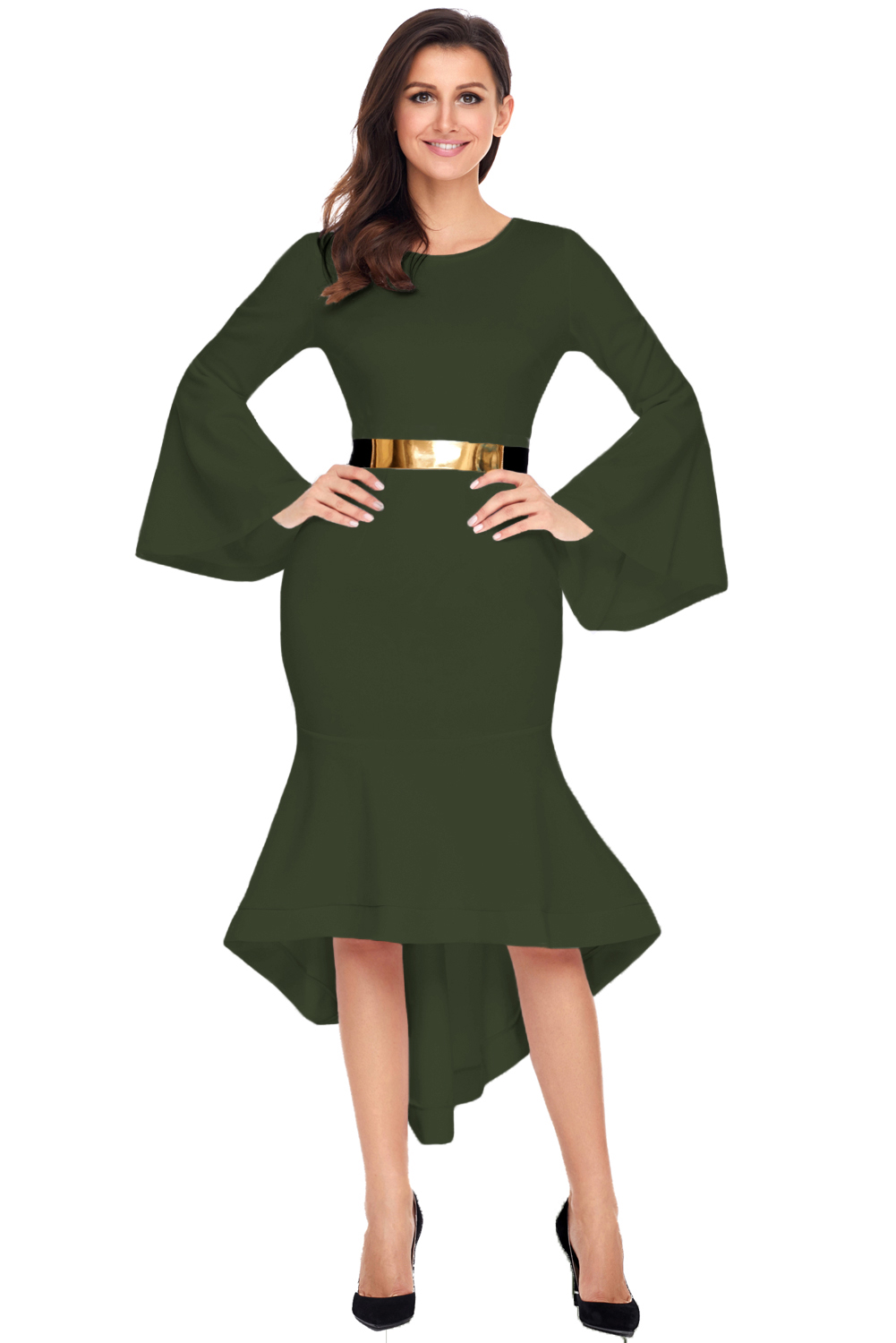 Olive Green Bell Sleeve Dip Hem Belted Dress