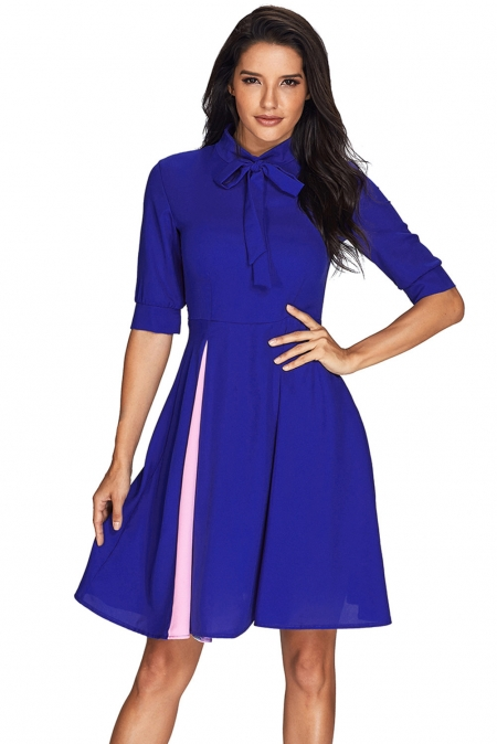 FALSE SLIT SPLICE ROYAL BLUE BOW TIE VINTAGE DRESS