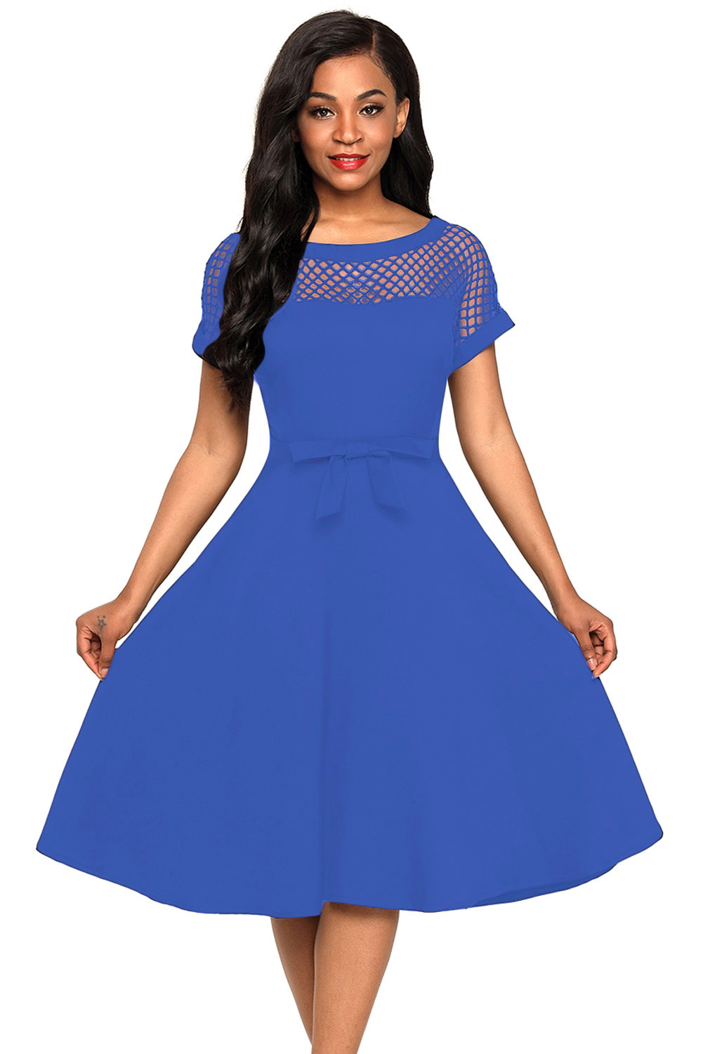 Fishnet Insert Blue Bowknot Embellished Dress