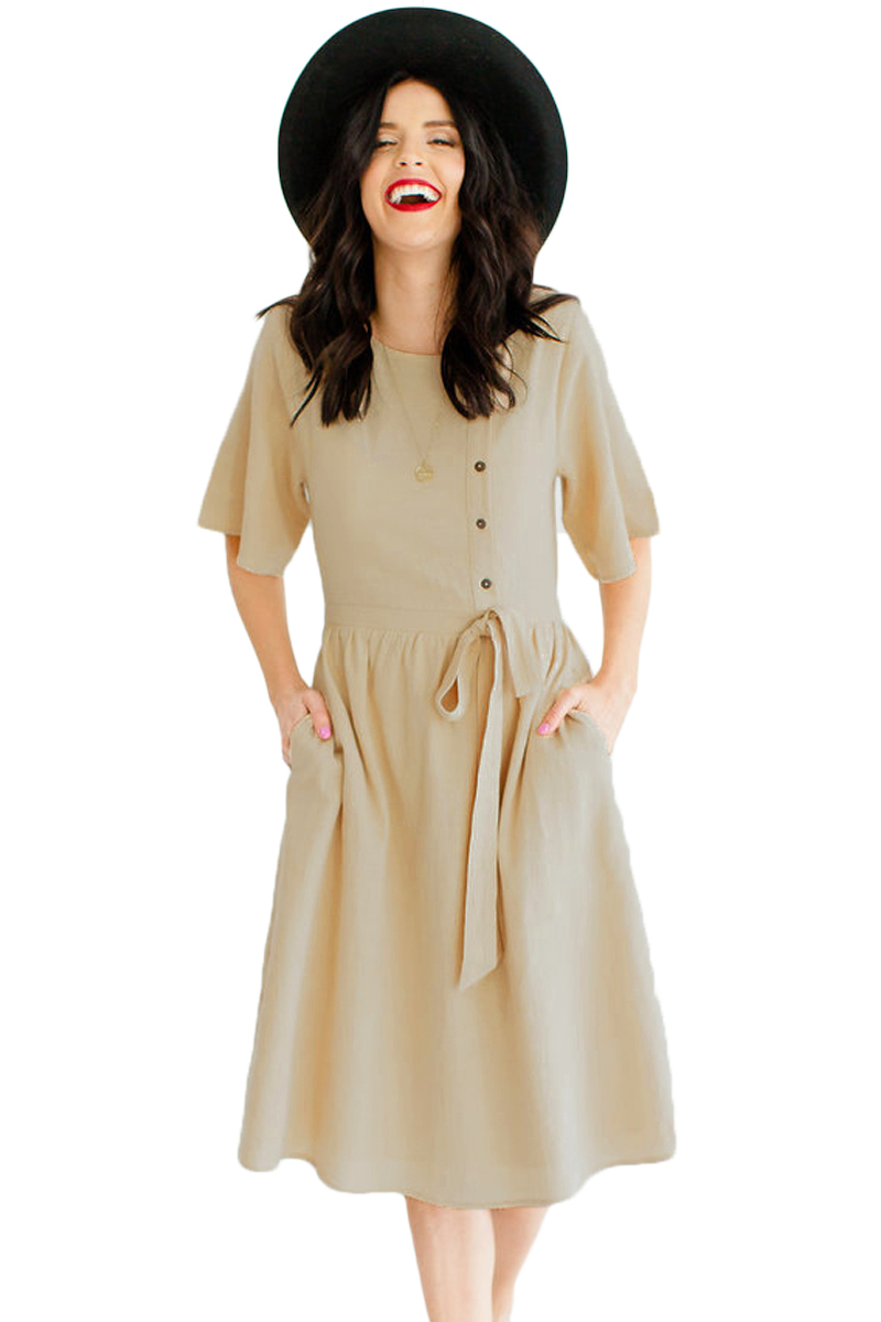 Apricot Asymmetrical Button Up Front Midi Dress