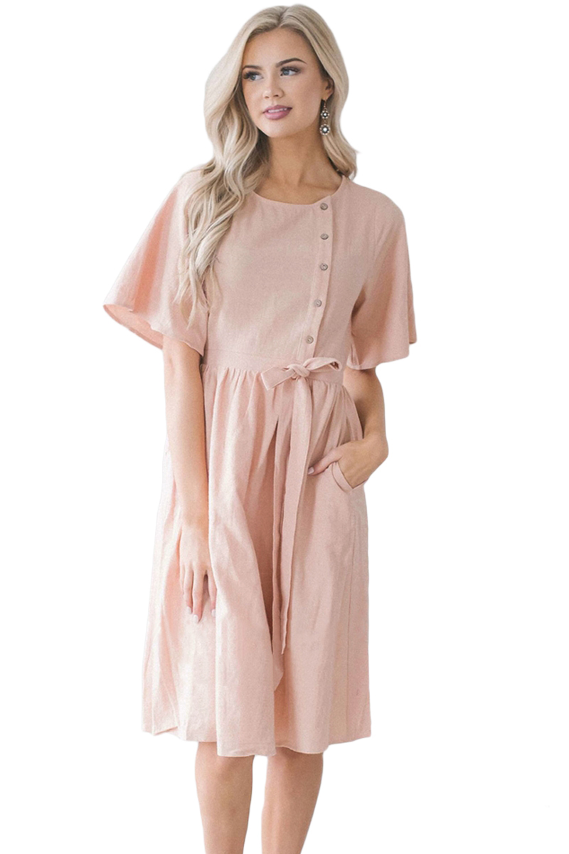 Pink Asymmetrical Button Up Front Midi Dress