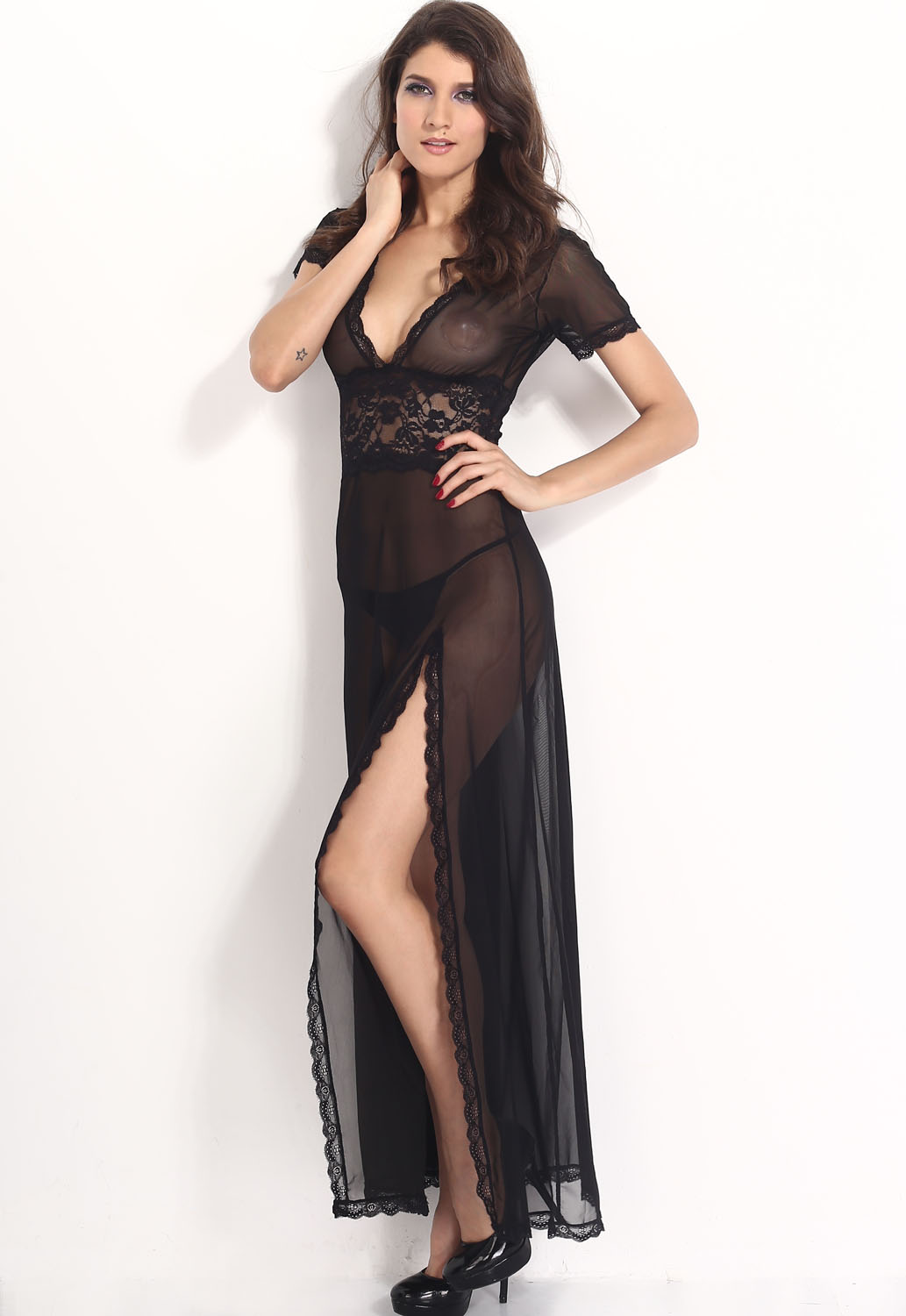 Plus Size Red Mesh and Lace V Neck Lingerie Gown [LC6366] - $12.99 ...