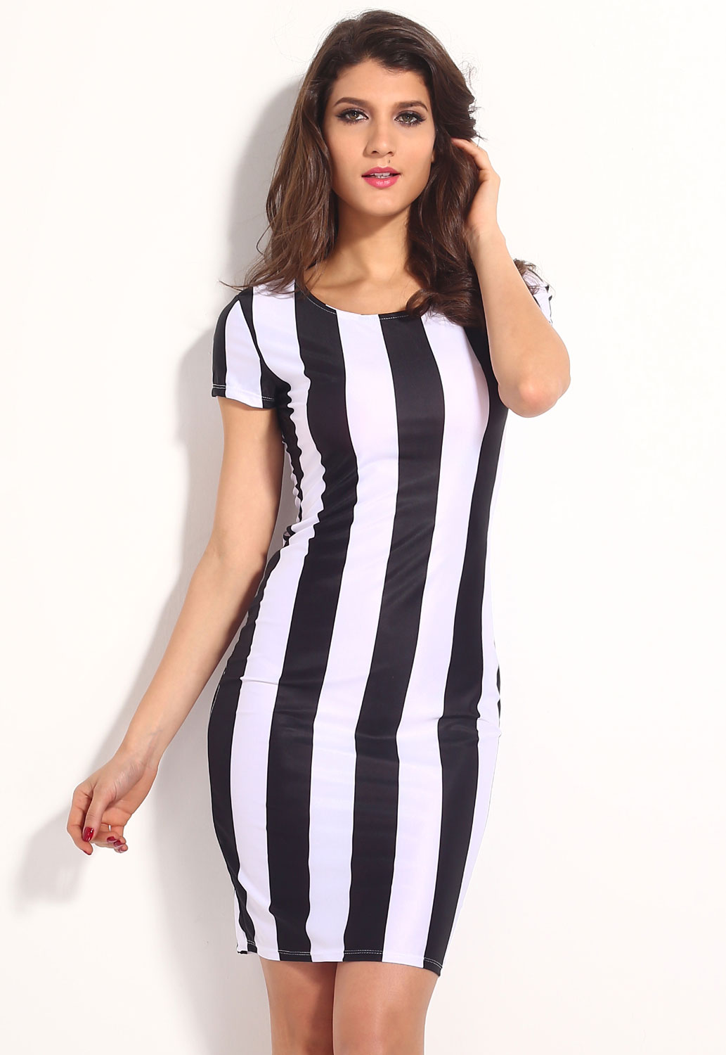 Classic Black White Vertical Stripes Midi Dress