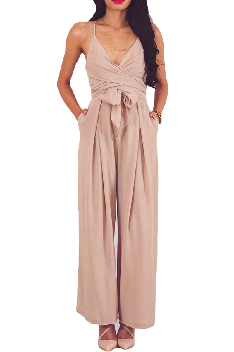 Apricot Wrap and Tie Sexy Open Back Jumpsuit