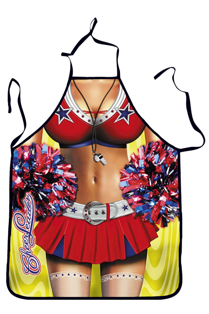 American High School Cheerleader with Pompoms Apron