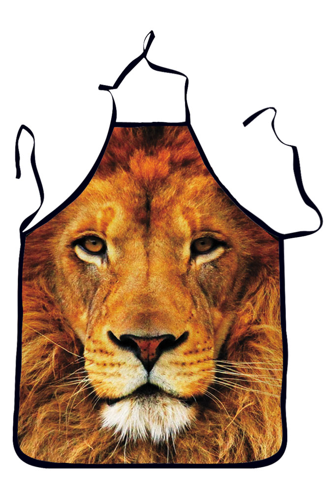Cute Cartoon Lion Theme 3D Printing Dinner Cooking Apron