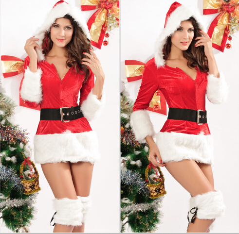 Hot Sexy Christmas Red Miss Santa Claus Costume Velvet Mini Hood