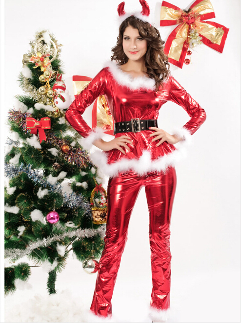 4pcs Fluffy Santa Girl Costume in Red