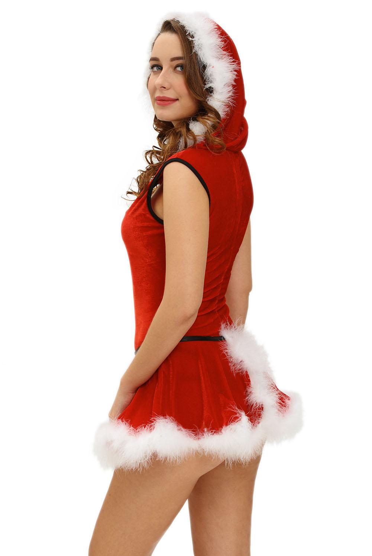 Soft Fur Trim Red Santa Teddy And Skirt Christmas Costume