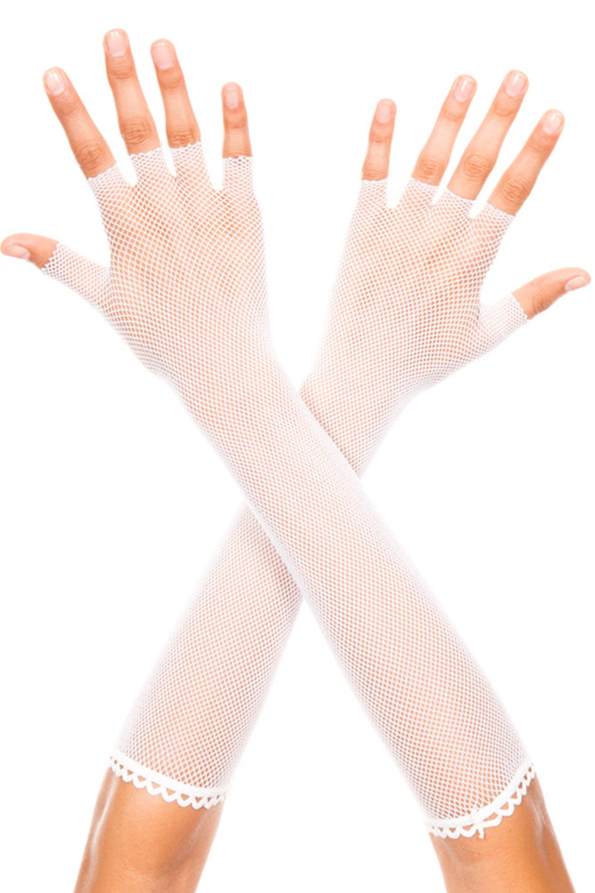 White Fingerless Fishnet Elbow Length Gloves
