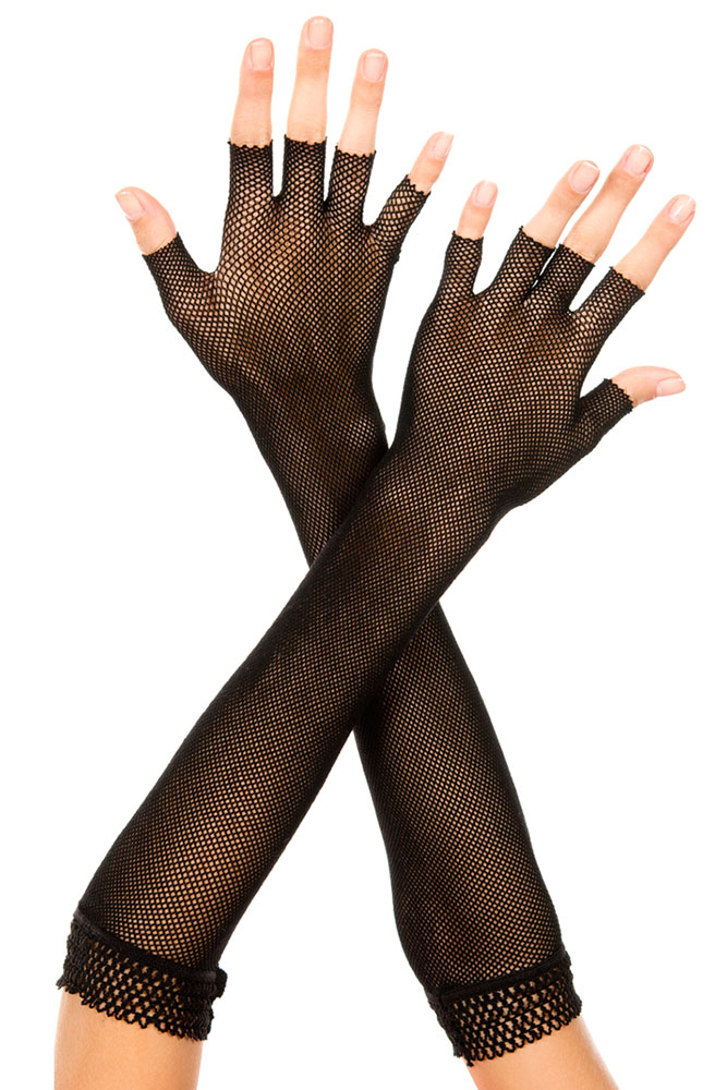 Fingerless Fishnet Elbow Length Gloves