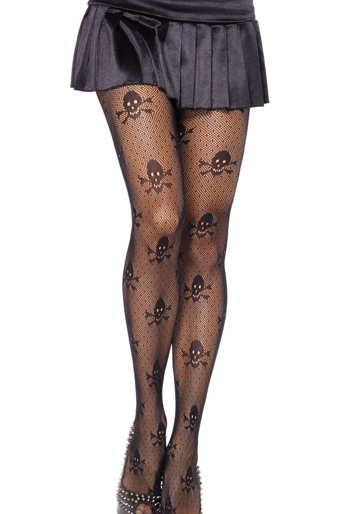 Net Skull Stretch Pantyhose