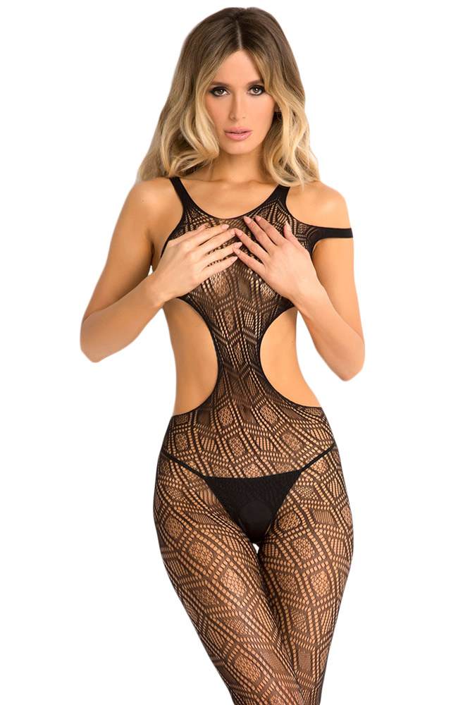 Black Sheer Mesh Cutout Diamond Patterned Bodystocking