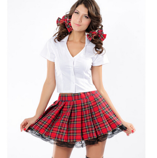 3pcs Temptress School Girl Costume