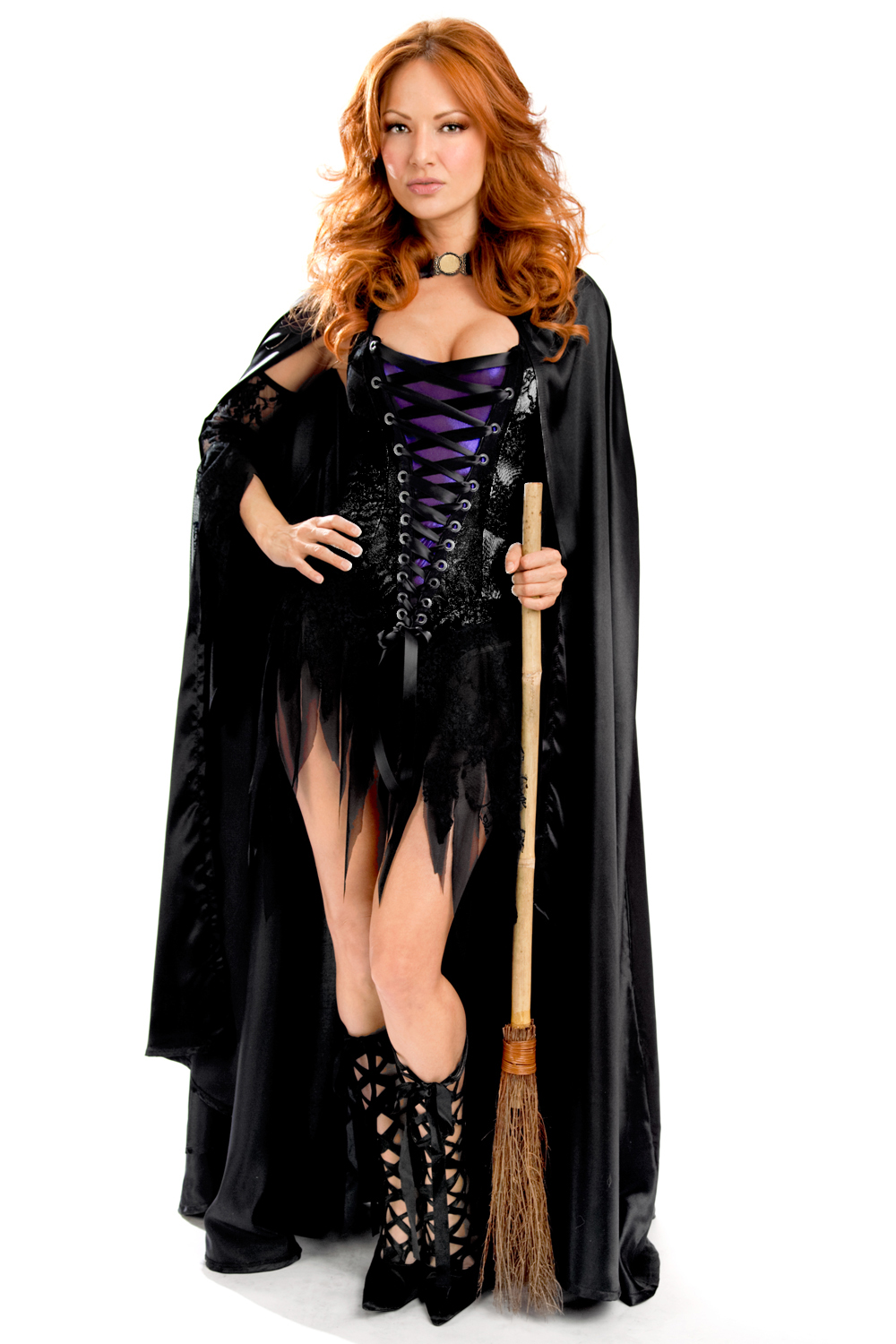 Vixen Vamp Party Dress with Cape and Sleeves