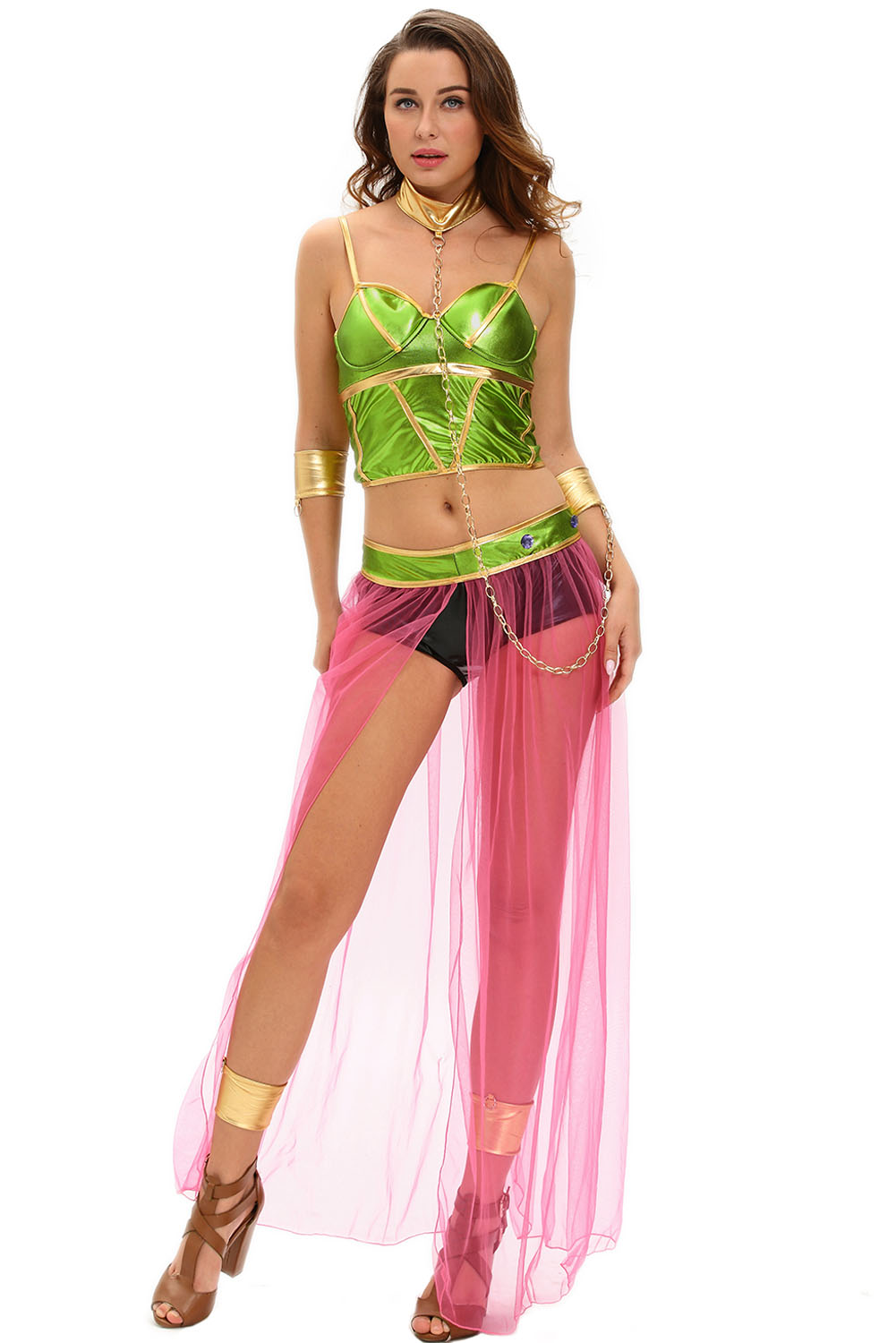 Green Pink 6pcs Slave Princess Halloween Costume