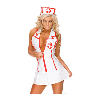Faux Leather Dresses, Sexy Nurse Uniform Costume, Leather Nurse