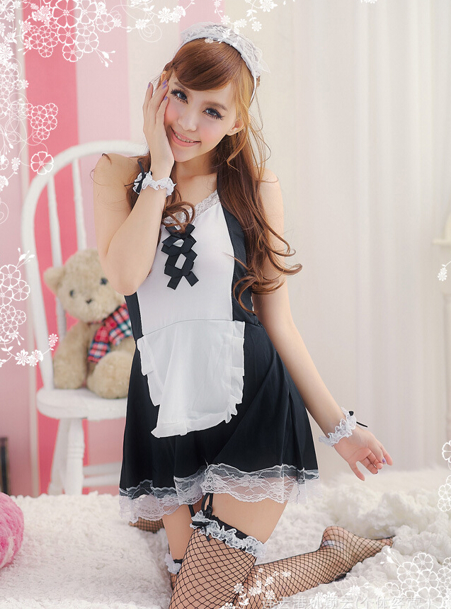 Sexy Lace Maid Halter Cosplay Costume