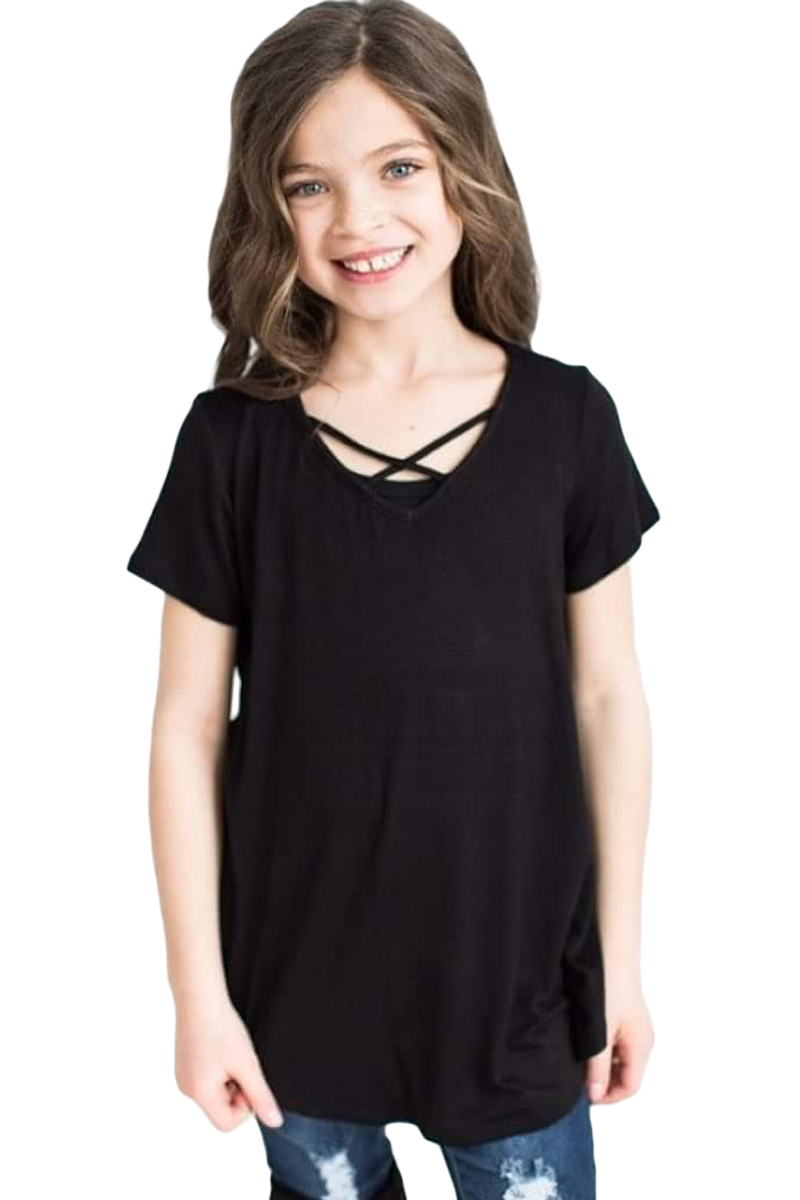 Black Crisscross V Neck Short Sleeve Tee for Little Girl