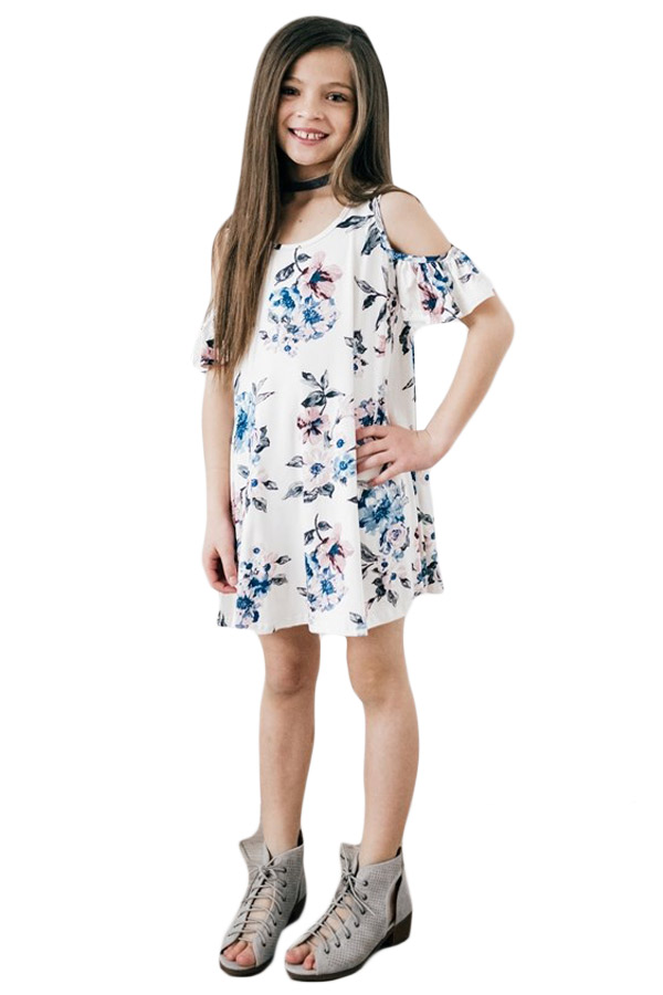 White Floral Cold Shoulder Tunic Dress