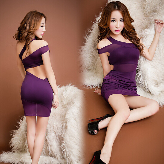 Violet Sexy One Shoulder Party Dress