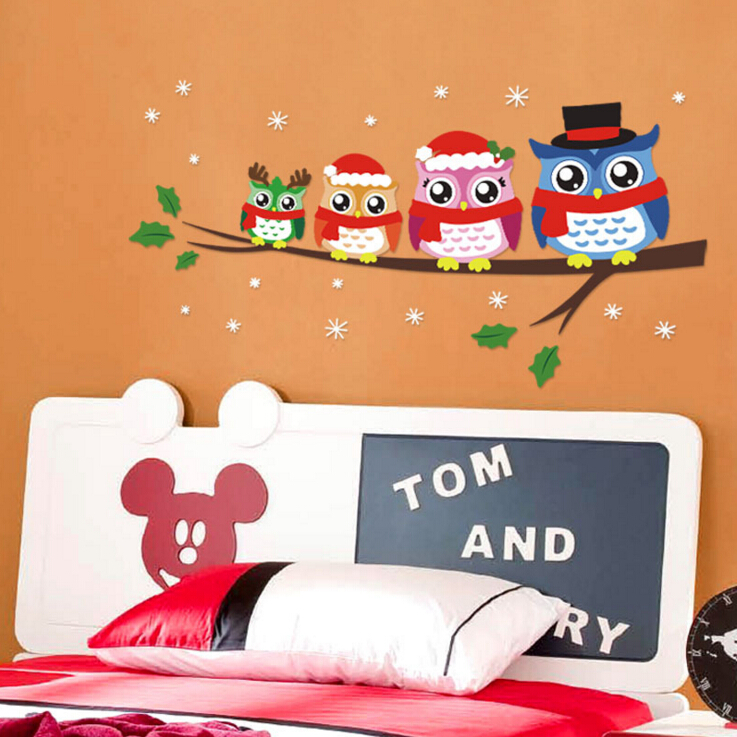 Owl Creative Children Room Cartoon Stickers 1406