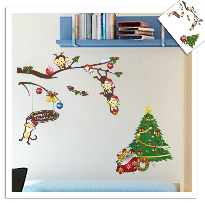 Christmas Tree and Monkey Wall Sticker