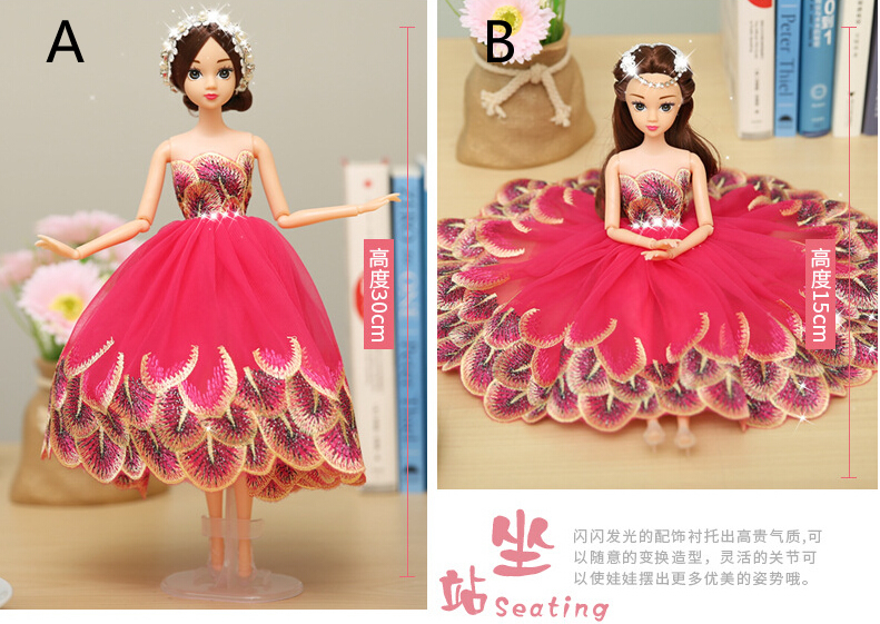 Rose Red Barbie Wedding Dolls For Car Decoration