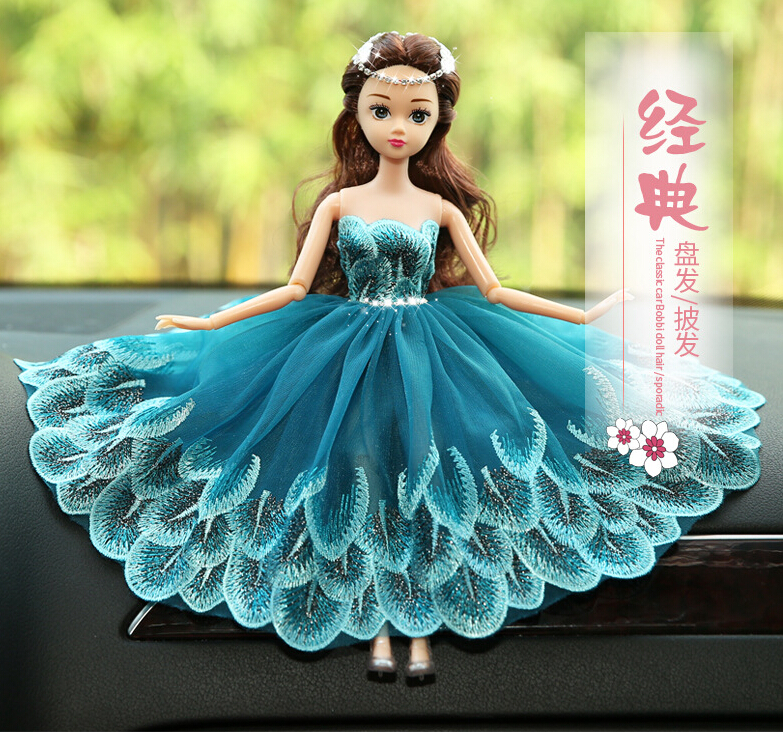 Peacock Blue Barbie Wedding Dolls For Car Decoration