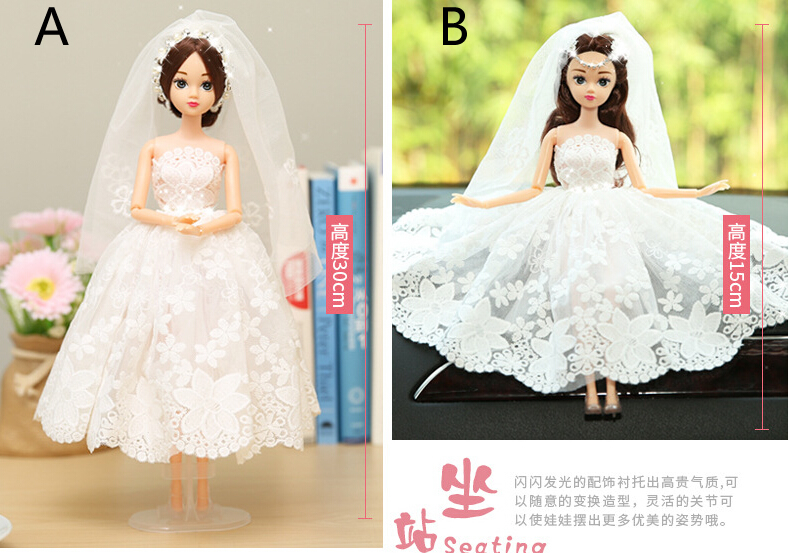 White Flower Barbie Wedding Dolls For Car Decoration