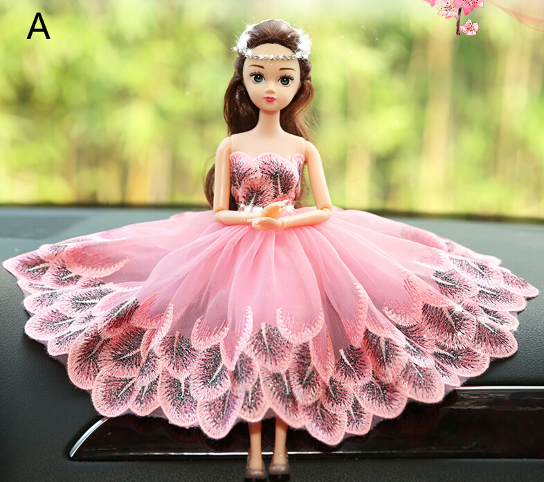 Peach Peacock Barbie Wedding Dolls For Car Decoration