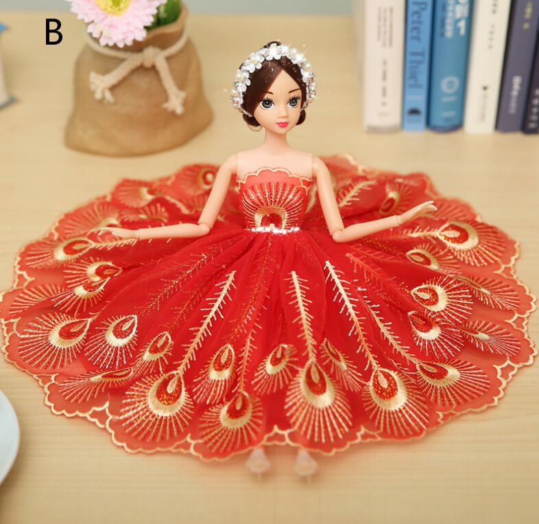Peacock Red Barbie Wedding Dolls For Car Decoration