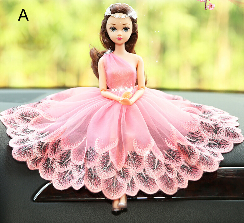 Pinky Peacock Barbie Wedding Dolls For Car Decoration