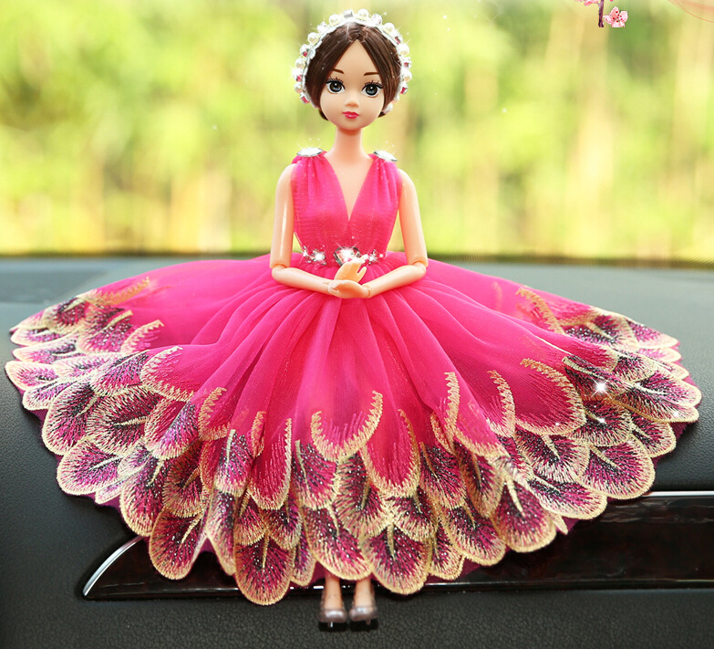 Bright Red Barbie Wedding Dolls For Car Decoration