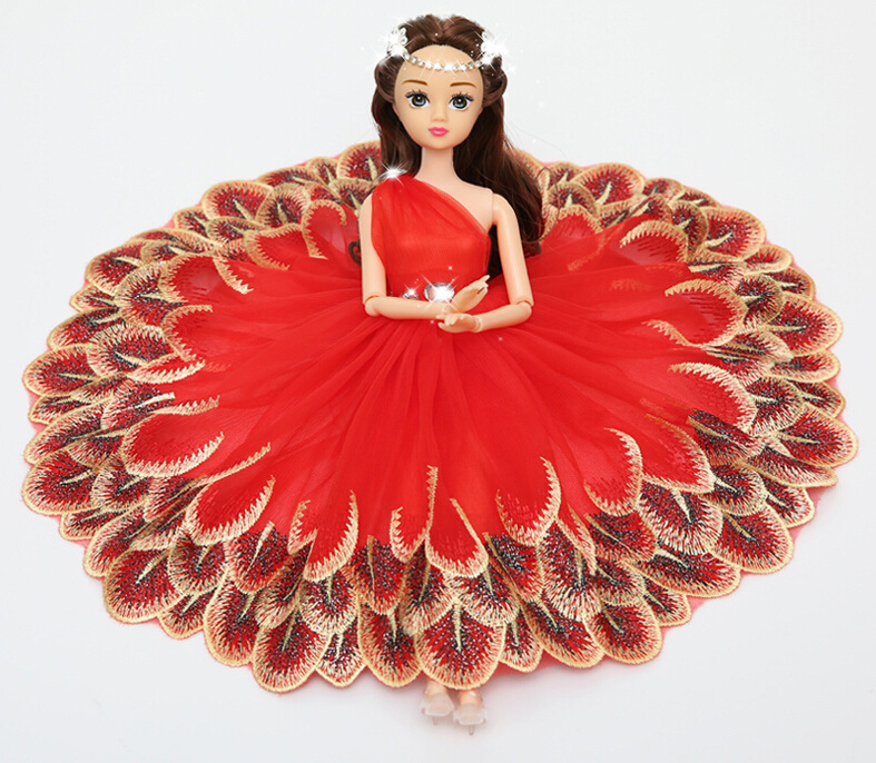 Red Peacock Love Barbie Wedding Dolls For Car Decoration