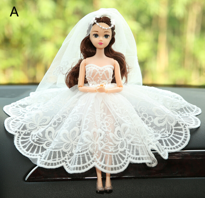 Lace White Barbie Wedding Dolls For Car Decoration