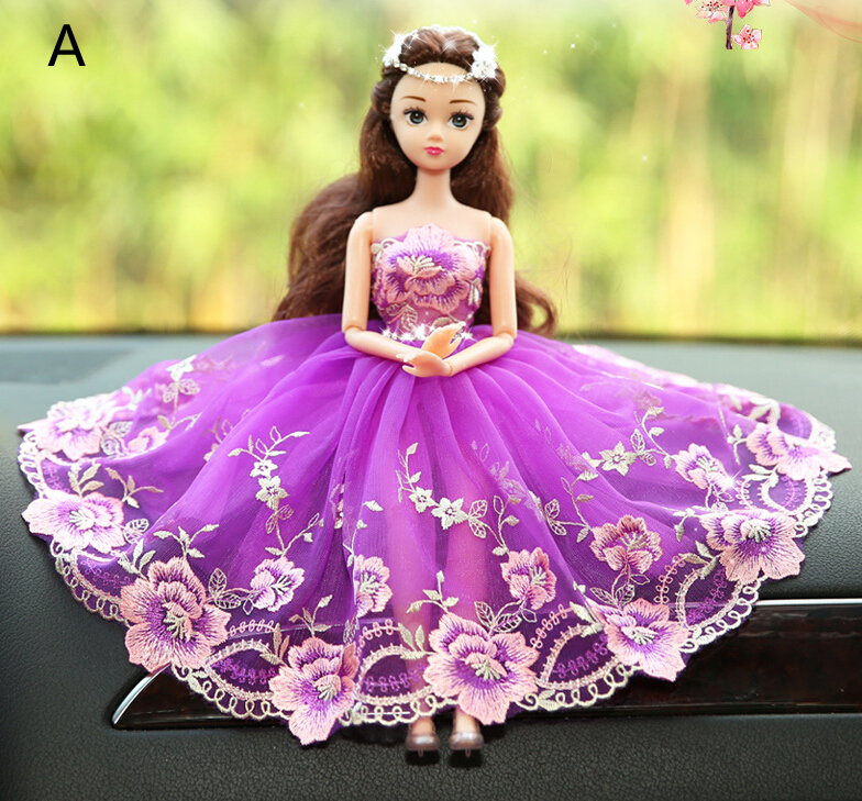 Flower Purple Barbie Wedding Dolls For Car Decoration