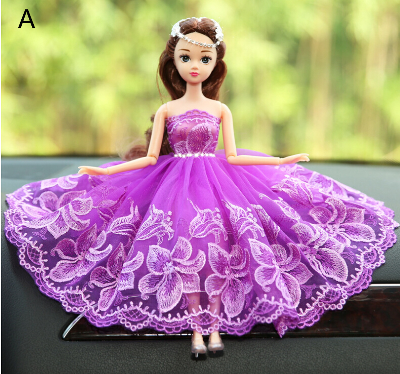 Purple Lace Barbie Wedding Dolls For Car Decoration