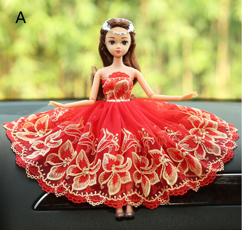 Flower Red Barbie Wedding Dolls For Car Decoration