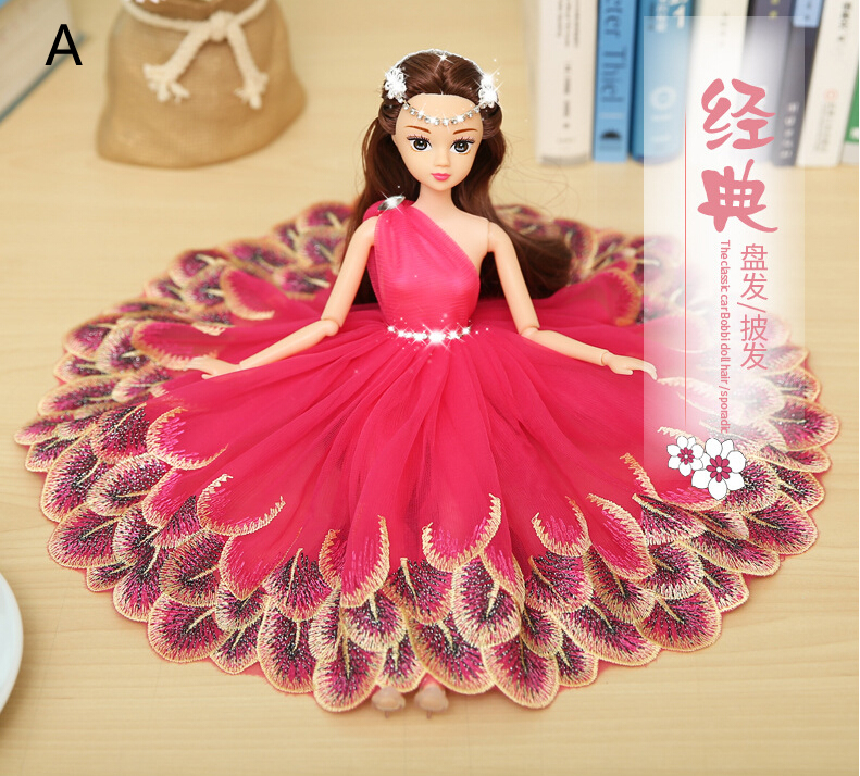 Peacock Peach Barbie Wedding Dolls For Car Decoration